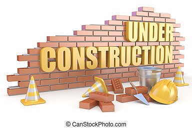 Under construction sign. 3D render illustration isolated on...
