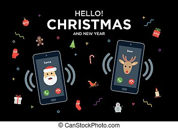 Christmas Greeting Card with phone call from Santa and...