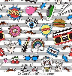 Seamless pattern with retro patch badges in vintage comic style.