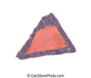 Smoked wild pacific sockeye salmon on blue corn tortilla...