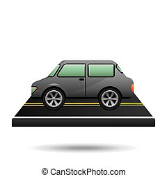 car vehicule gray on road vector illustration eps 10