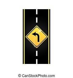 turn left road sign concept graphic vector illustration eps...