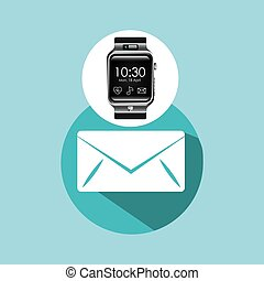 smart watch on hand-email envelope