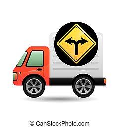 garfo, conceito, tráfego, sinal
