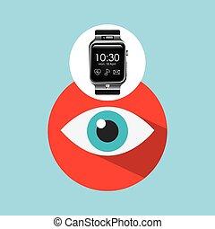 smart watch on hand- eye icon