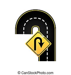 u-turn road sign concept graphic