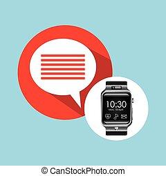 smart watch on hand-bubble speech