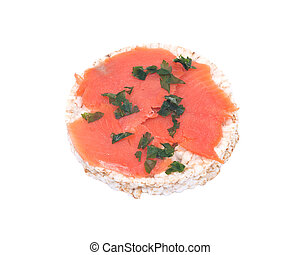 Smoked wild pacific sockeye salmon with parsley on organic...