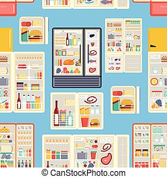 Open refrigerator products vector pattern. - Illustration of...