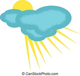 Weather Icon of Partly Clouded Day with Texture on the...