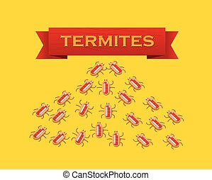 Red colony of termites. Vector flat style illustration