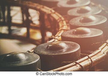 estilo, Gongo, vindima, instrumento, ritmo, Tailandês,...