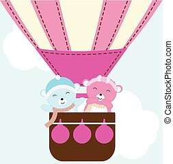 Baby shower illustration with cute baby bear in hot air balloon suitable for baby shower invitation, greeting card and wallpaper