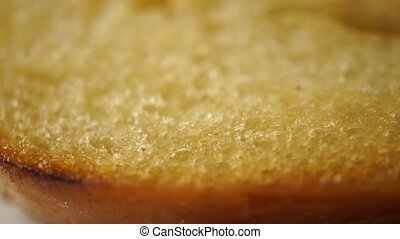 Toasted crispy bread for a sandwich macro dolly video -...
