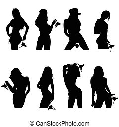 girl silhouette with underwear set in various poses illustration