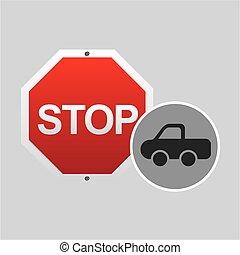 pick up truck stop road sign design vector illustration eps...