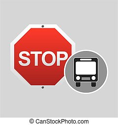 public transport stop road sign design vector illustration...