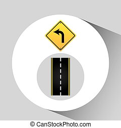 turn left road sign concept graphic