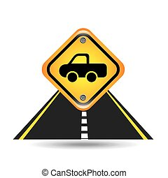 pick up truck yellow road street sign vector illustration...