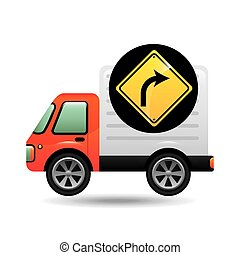 right turn traffic sign concept