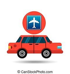 airport road sign sedan red