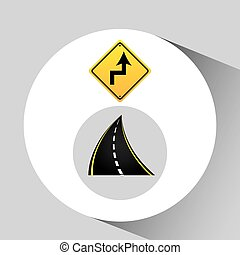 reverse turn road sign concept graphic