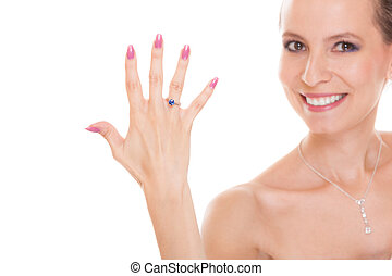 Happy bride woman with engagement ring on finger. - Joyful...
