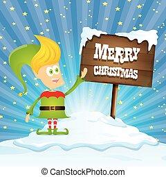 vector cartoon merry Christmas elf on north pole