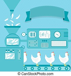Chickens production - Vector illustration of factory...