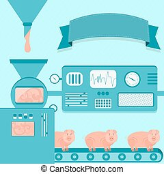 Pigs production - Vector illustration of factory producing...