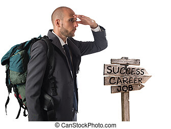 Find the road to business success - Businessman with...