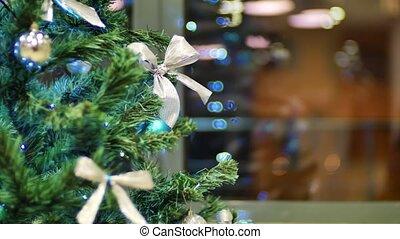 Christmas tree garland flashing bright lights Christmas and...