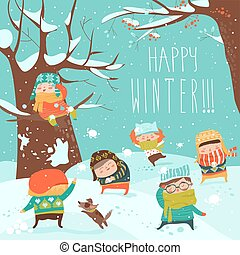 Funny kids playing snowball fight. Vector illustration