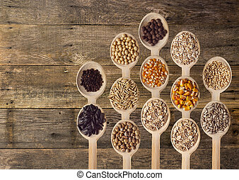 Different Seeds on Wooden Spoons - Different type of seeds...