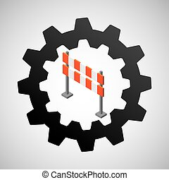 under construction gear barrier road vector illustration eps...