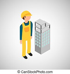 under construction worker with building vector illustration...