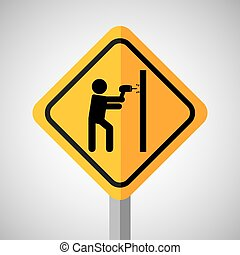 under construction road sign making hole wall vector...