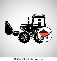 construction truck concept wheelbarrow design vector...