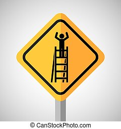 under construction road sign worker on stair