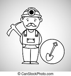 mine worker pickaxe with shovel