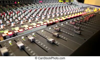 Closeup Musical Mixing Console Faders Move - closeup musical...
