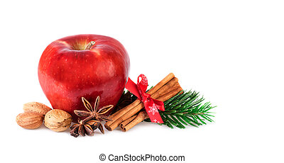 Red Apple rustic decorated with winter spices. Christmas...