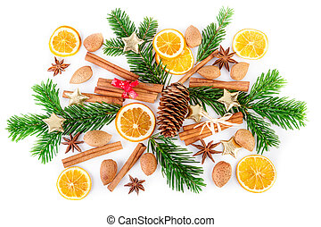 Christmas composition with winter spices on white. Flat lay,...