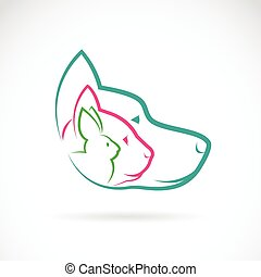 Vector group of pets - Dog, cat, rabbit, isolated on white...