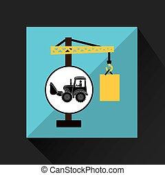 construction truck concept crane barrel design vector...