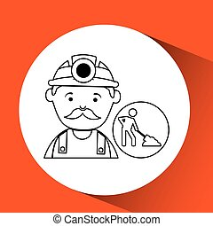 mine worker pickaxe icon design vector illustration eps 10