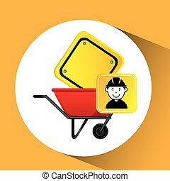 construction worker wheelbarrow sign traffic graphic