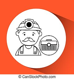 mine worker pickaxe with tool box vector illustration eps 10