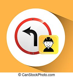 construction worker road sign graphic