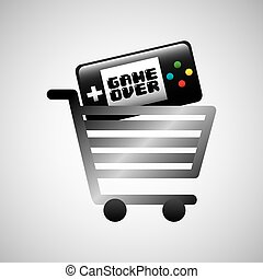 shiny shopping cart game over online commerce vector...